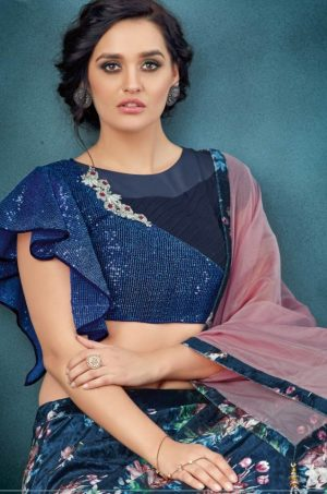 Desingner Bridal Wear Lehengas,Net & Silk Fabrics- N.Blue & pink colour