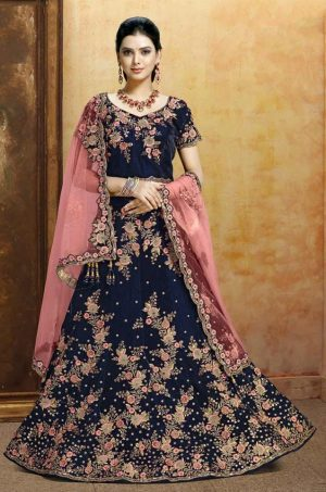 Bridal Wear Lehengas, Net & Velvet Fabrics-Blue & Peach colour