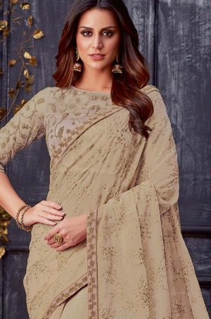 Party Wear Saree With Blouse & Embellished Borde- chiku colour