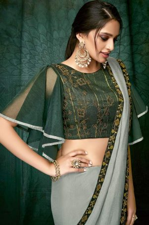 Plain Sarees With Designer Blouses & Border- Ready Plated- grey colour