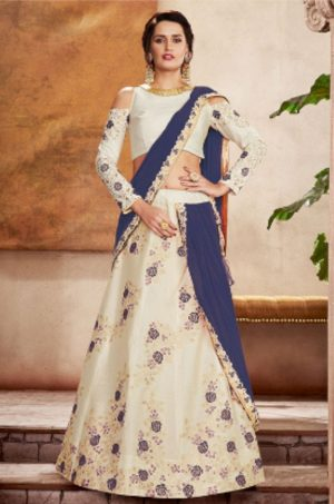 Party Wear Lehengas, Lycra & Raw Silk Fabrics- cream & n.blue colour