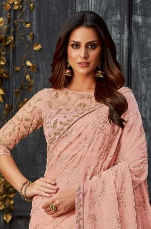 Party Wear Saree With Blouse & Embellished Borde- peach colour