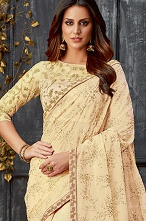 Party Wear Saree With Blouse & Embellished Borde- yellow colour