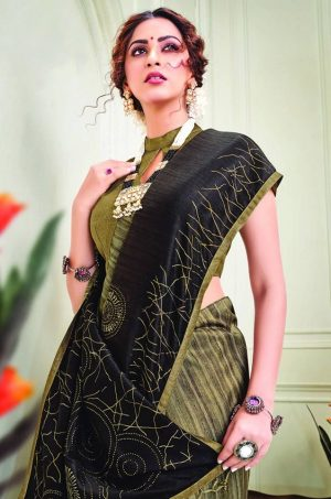 Party Wear printed Silk Fabric, Designer saree- Brown & musterd colour