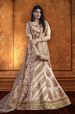 Bridal Wear Lehengas, Net & Silk Fabrics- Light PInk colour