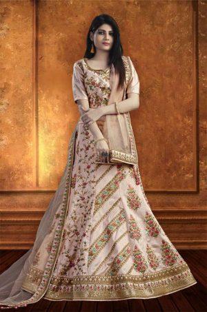 Bridal Wear Lehengas, Net & Silk Fabrics- Light PInk colour