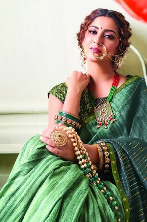 Party Wear printed Silk Fabric, Designer saree- rama green colour