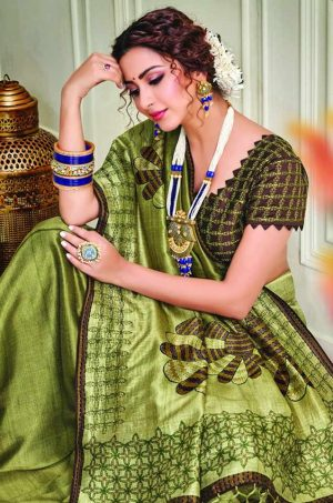 Party Wear printed Silk Fabric, Designer saree- liril colour