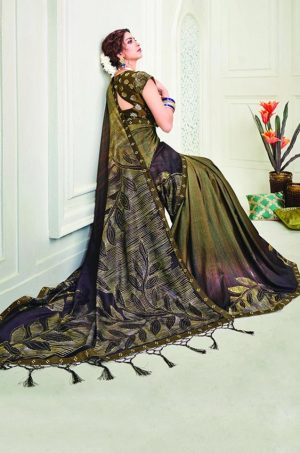 Party Wear printed Silk Fabric, Designer saree- wine & mehendi colour