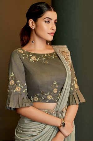 Party Wear Sarees With Designer Blouses & Border, Ready Plated- green & grey colour