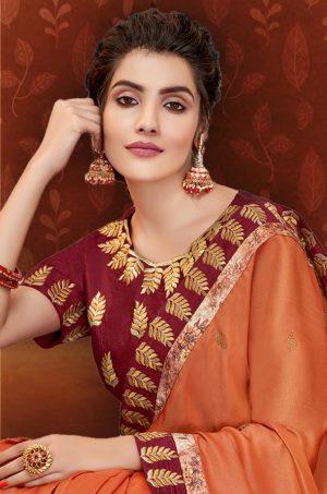 Traditional Saree With Desingner Contrast Blouse & Embellished maroon & orange colour