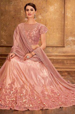 Desingner Ethnic Wear Lehengas, satin Silk & Net Fabrics- pink colour