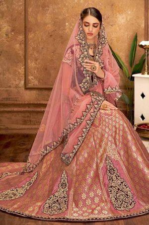 Desingner Ethnic Wear Lehengas, Weaved Silk,velvet & Net Fabrics- maroon & pink colour