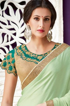 Traditional Half N Half Saree With Desingner Contrast Blouse & Embellished Border-gold & dark green colour