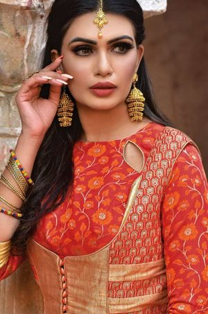 Traditional Banarasi Silk Saree With Contrast Blouse & Embellished Border-cream & orange colour