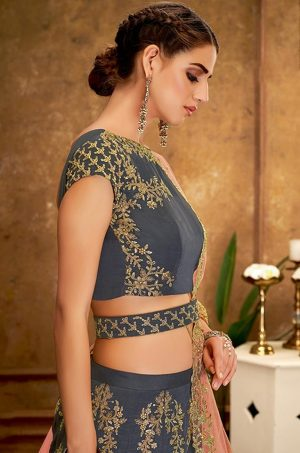 Desingner Ethnic Wear Lehengas with Belt ,Silk & Net Fabrics- Pink & Grey colour