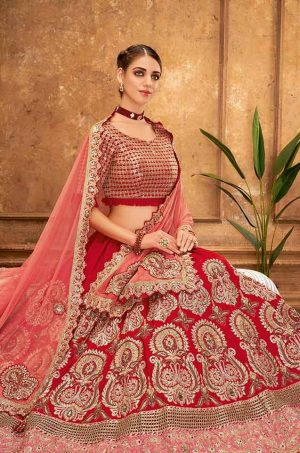 Desingner Ethnic Wear Lehengas,Silk & Net Fabrics- red colour