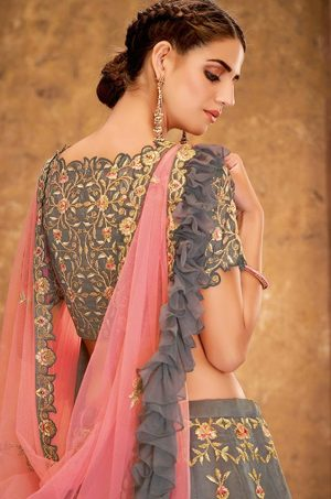 Desingner Ethnic Wear Lehengas,tissue & Net Fabrics- pink & grey colour