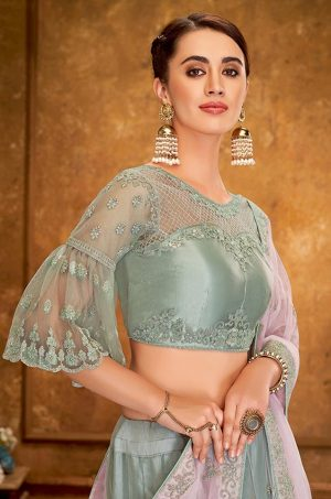Desingner Ethnic Wear Lehengas, satin Silk & Net Fabrics- pink & pastel blue colour