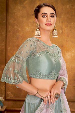 Desingner Ethnic Wear Lehengas, satin Silk & Net Fabrics- pink & pastel blue colour