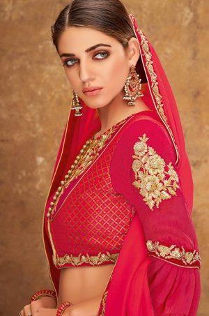 Desingner Ethnic Wear Lehengas,Weaved Silk,Georgette,Velvet & Brocade Fabrics- Red & Cream colour