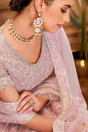 Desingner Ethnic Wear Lehengas,suede & Net Fabrics- pink colour