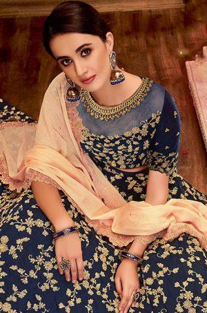 Desingner Ethnic Wear Lehengas,Silk & Net Fabrics- peach colour