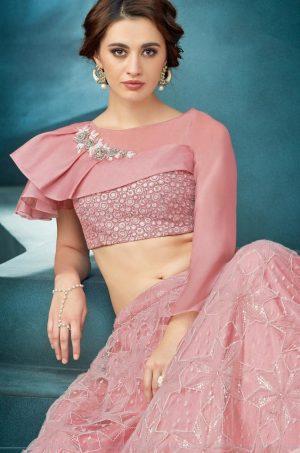 Designers Party Wear Lehenga -Tissue & Fancy Net Fabrics- Pink Colour