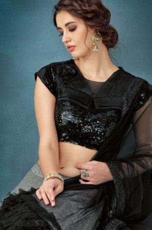 Party Wear Lehengas,Fency Fabrics & Net,- Black colour