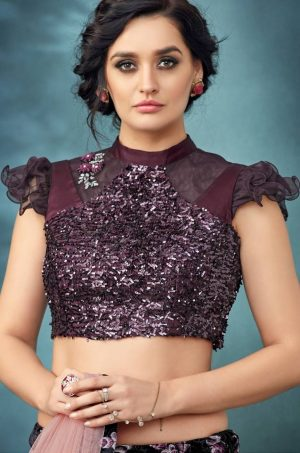 Party Wear Lehengas,Fency Fabrics,velvet & Net,- Black colour