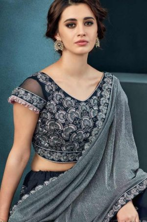 Desingner Fusion Lehengas,lycra & Silk Fabrics- n.blue colour
