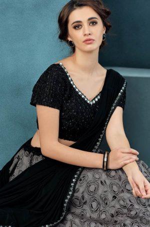 Desingner Bridal Wear Lehengas,Net,lycra & Silk Fabrics- black & grey colour