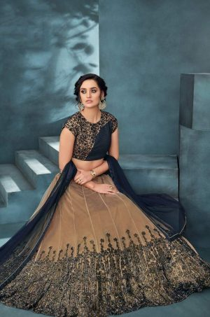 Desingner Bridal Wear Lehengas,Net & Silk Fabrics- N.Blue & Beige colour