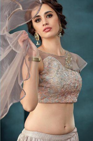 Desingner Bridal Wear Lehengas,Net,lycra & Silk Fabrics- pink & silver colour