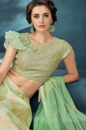 Desingner bridal wear Lehengas,Net,Jacquard & Silk Fabrics- Beige & c.green colour
