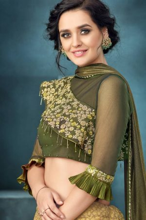Desingner bridal wear Lehengas,Net,Jacquard & Silk Fabrics- yellow & green colour