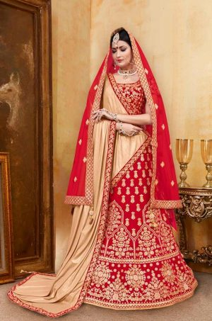 Bridal Wear Lehenga, Net & Velvet Fabrics- Red & Chiku Colour – Best Double Dupatta Wedding Lehenga For Marriage With Mask