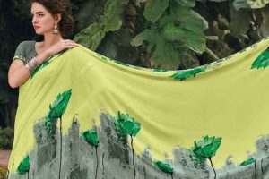 Laxmipati Georgette Lemon & Grey Saree