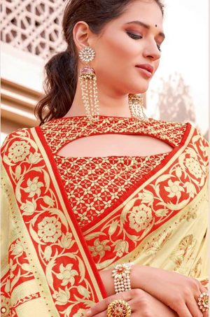 Traditional Banarasi Silk Saree With Contrast Blouse & Embellished Borde- cream & red colour