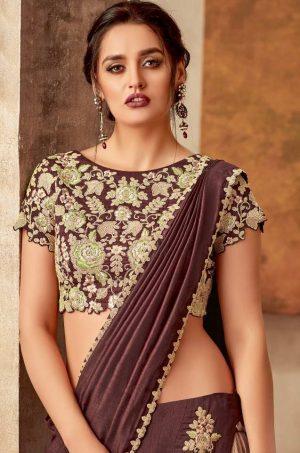 Traditional Wear Lehengas,Silk & Raw Silk- Maroon & Beige colour