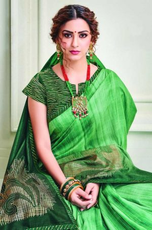 Party Wear printed Silk Fabric, Designer saree- green colour