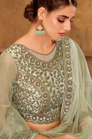 Desingner Ethnic Wear Lehengas, Silk & Net Fabrics- pastal green colour