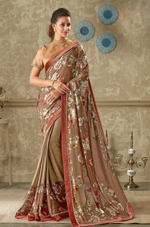 Party Wear Saree With Blouse & Embellished Border- chiku colour