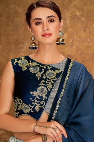 Desingner Ethnic Wear Lehengas, jaquard Silk,lycra & Net Fabrics- grey & blue colour