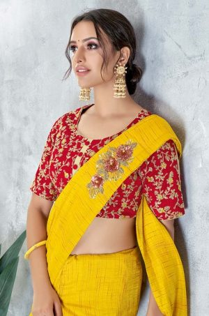 Traditional Saree With Contrast Blous & Embellished Border,Redy Plated & Half N Half- red & yellow colour