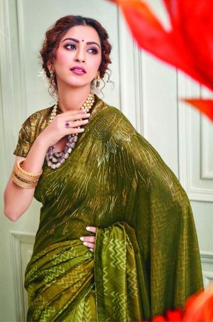 Party Wear printed Silk Fabric, Designer saree- mehendi & musterd colour
