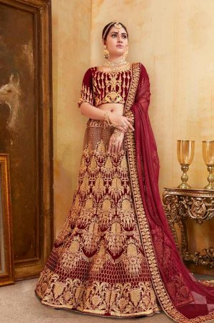 Bridal Wear Lehengas, Net & Velvet Fabrics- Red colour