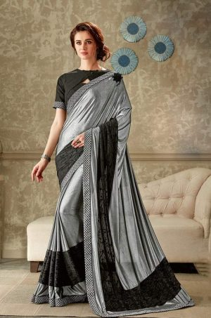 Party Wear Sarees With Designer Contrast Blouses- Ready Plated- black & grey colour