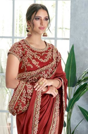 Traditional Saree With Contrast Blous & Embellished Border,Redy Plated & Half N Half- rust red colour