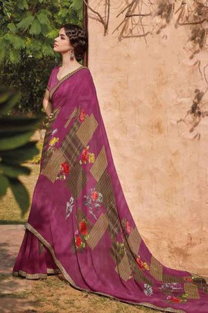 Laxmipati Georgette base pink & multi color saree